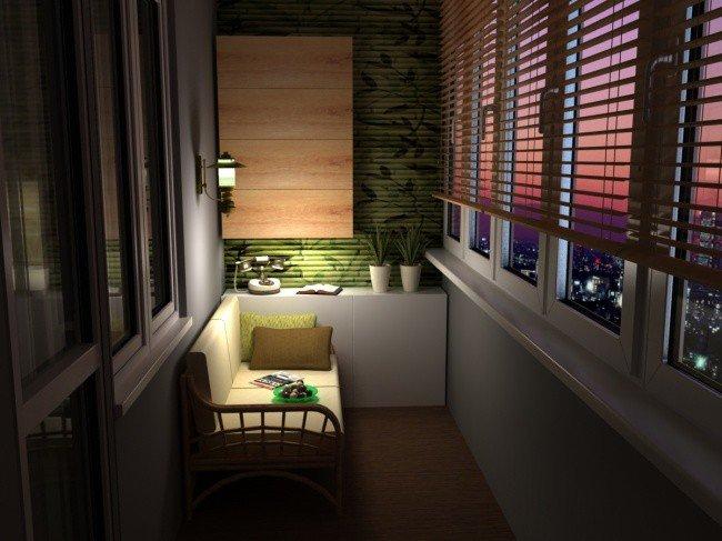 Из балкона в уютное помещение.